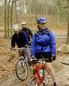 Here I am with Stephen Kait of Spartina restaurant, Michael Romano of Union Square Cafe, and Kurt Pfund of Cycle Path Bikes (not pictured) on a trail ride in East Hampton, NY. (OAD: 5/15/1998)