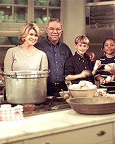 Colin Powell and I teach children how to make potato soup. (OAD: 01/18/1999)