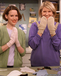 Molly Ringwald crafts sweater mittens with me. (OAD: 2/20/2001)