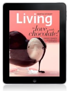 This is the cover of our digital February issue of Martha Stewart Living.  You actually get to see the chocolate being drizzled over the ice cream!