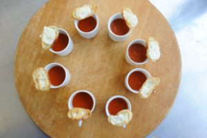 From Whole Living - mini tomato soups with mozzarella croutons