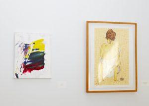 "Andrew Zalk's ""Flag"" and Kristin St. Clair's ""Egon Schiele Reproduction""."