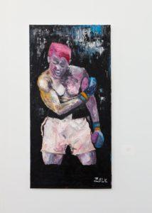 "Andrew Zalk's painting, ""The Boxer."""