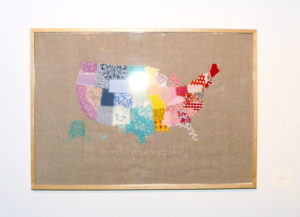 """Emily Wood's fabric collage """"Map of the United States."""""""