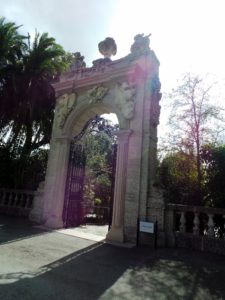 The South Forecourt Gate, one of a pair flanking either side of the Forecourt Oval, Vizcaya's main entrance today.