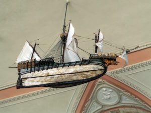 Suspended from the East Loggia ceiling, this is a model of a Caravel, made in 1916 in NYC.  James Deering loved boats.