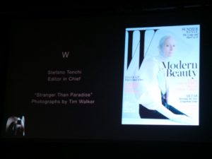 "Stefano Tonchi, Editor in Chief of W, accepted an award for Feature Photography, ""Stranger than Paradise"", featuring Tilda Swinton.  http://www.wmagazine.com/people/celebrities/2013/05/tilda-swinton-tim-walker-las-pozas-cover-story"