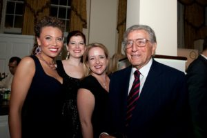 Sing for Hope Donor Artists Alyson Cambridge, Blythe Gaissert, Jennifer Aylmer, with 2010 Honoree Tony Bennett   Photo credit - Sing for Hope Donor Artist Nan Melville