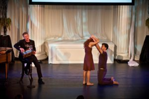 Tenor - Michael Slattery, and dancers - Emily Oldak and Javier Baca performed Joni Mitchell's 'Both Sides Now.'   Photo credit - Sing for Hope Donor Artist Nan Melville