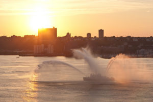 A New York City Fire Department fire boat water show