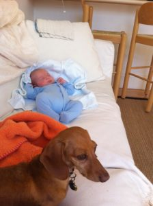 Little Archie Downing and doggie