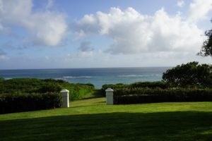The vast lawn stretches right to the Caribbean.