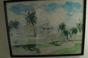 A watercolor of Cane Garden Plantation