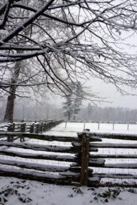 The paddock fencing, which is antique white-cedar fencing from Canada, always looks great covered with snow.