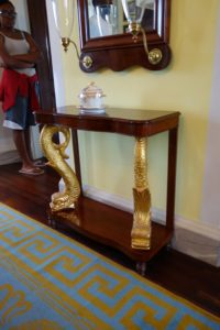 A very nice example of a Danish pier glass and console table