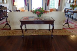 "This is a Chippendale-style mahogany marble top ""slab"" table, circa 1775.  This table was originally part of the furnishings in the Government House in Christiansted, St. Croix."