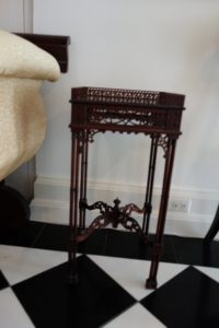 An intricately carved table