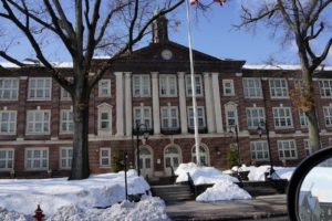 Before that change occurred, this building was the high school.  It is now the Middle School.