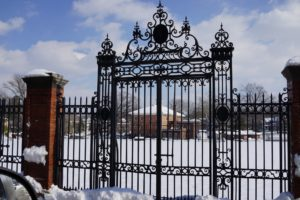 This wrought iron gate leads into The Oval, the town's playing field.  It is a lovely spot for sports events.  The 4th of July fireworks are held here too.