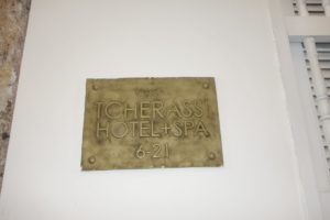 The hotel plaque