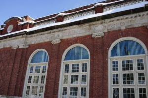 This handsome school was built in 1902 from brick and stone. The big windows provide great light inside.
