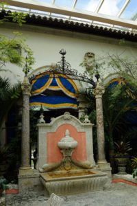 This is the courtyard, the functional center of Vizcaya.  Once open to the elements, it has been enclosed with a glass roof to help protect the house's contents.