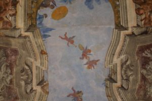 This is the ceiling of the loggia of the Casino, which was painted in the Italian Renaissance style by Swiss painter Paul Thévenaz.