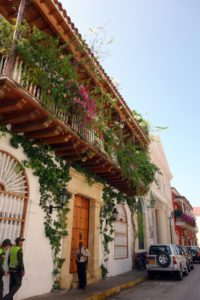 This is one of the fancy mansions of Cartagena, embellished with bougainvillea and with much security on the street.