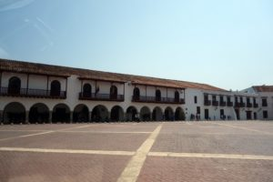 This is a vast courtyard looking at the old jail, which is now a collection of tourist shops.