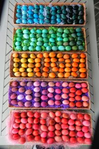 And here are all the eggs for the egg hunt – all ready to be hidden for the children.