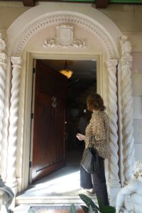 The front door is original to the Spanish Mediterranean home. It was designed by Addison Mizner, an American resort architect whose style interpretations inspired many other architects and developers in South Florida.