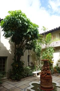 This is the courtyard - decorated with a terra-cotta fountain which John found and purchased.