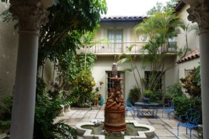 Here's another view of the spectacular courtyard with its lovely palm trees and fountain.
