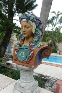This terra-cotta bust sits near the pool. It is a bust of the zodiac figure, Libra, which John and Bill found at an estate sale in New Jersey. There were only two zodiac busts available - this one and one of Aquarius.
