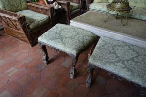 These were originally chairs, but the backs were in disrepair, so John removed the backs and repurposed them as stools.