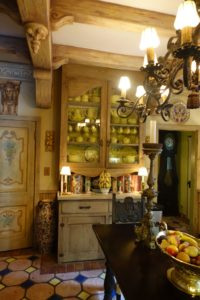 The floor, the hutch, and all the other painted surfaces were done by John. The antique table was a favorite find.