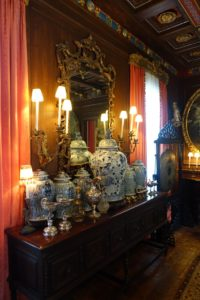 This is the dining room, and a collection of antique blue and white urns.
