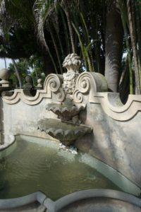 At the entrance to the home is a fountain built by John - one of 14-fountains on the property. John also put up the wall behind the fountain in 1970.
