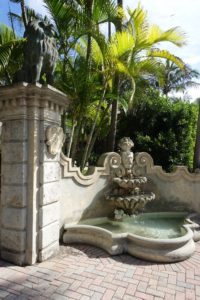 Here is another view of the gorgeous fountain and wall. John put a lot of love and care into decorating this home, as you will see in the following interior photos.