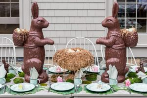 The children's table was set with these larger than life-sized faux chocolate bunny figurines. These were 36-inch chocolate resin bunnies were the sell-out on QVC this spring. They are replicas of ones that my friend, Steve Girard, gave me. They look so fun on the table flanking a bowl of eggs.
