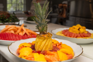We also had several fruit salad platters with pineapple, mango, papaya, grapefruit, melon, and watermelon.