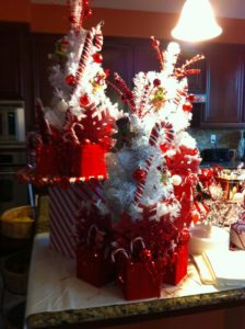 Eva Baker, from Victorville, CA decorated her home with a candycane Christmas theme. She was inspired  by the decor I used for Radio City Music Hall.