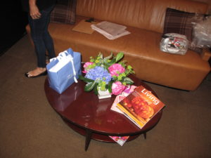 The greenroom with more beautiful flowers and the latest copies of my magazine, Living, and Oprah's O Magazine, of course!
