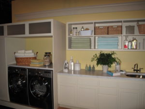 The utility room was stocked with towels from my collection at Macy's, as well as cleaning products from the Martha Stewart Clean line.