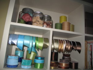 The shelves were also filled with beautiful satin and velvet ribbons.