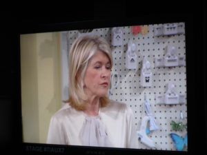 Here I am on the monitor during our craft segment.  A peg board lined the wall with all the essential crafting tools from my line with Michaels.