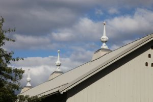 These roof ornaments atop the equipment barn are made of lead-coated copper.