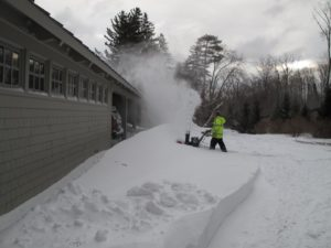 The gale-force winds caused the snow to drift against my carport.  The snow-blower was put to use.