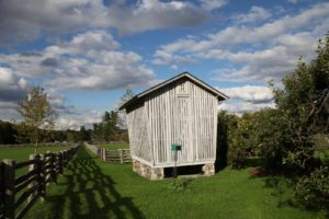 A view of the corn crib with apple and quince trees nearby