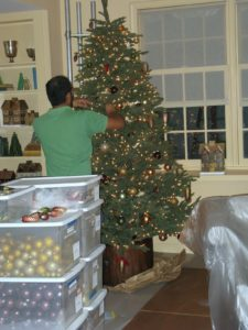 Decorating the set for the holidays required many hands.  Here, Paul Moreno is decorating one of the lovely trees.